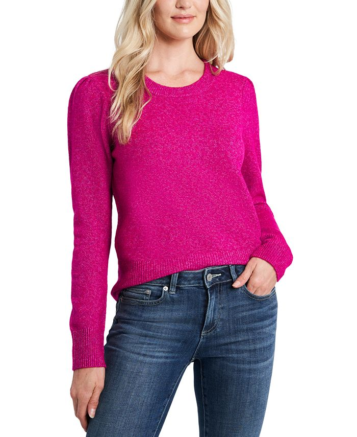CeCe - Crew-Neck Puffed-Shoulder Sweater