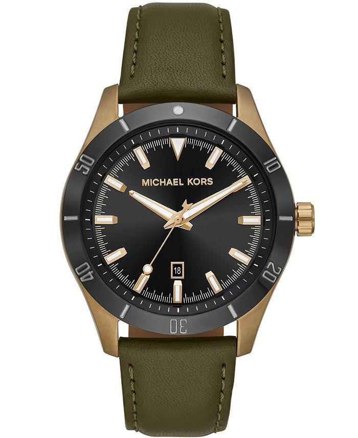 Michael Kors - Men's Layton Olive Leather Watch 44mm MK8855