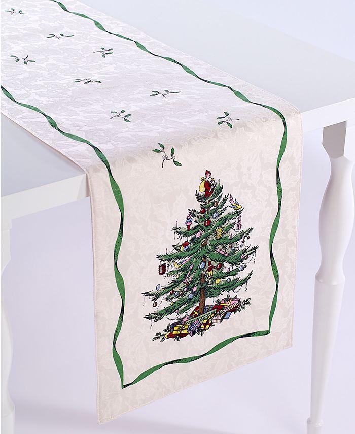 """Spode - Christmas Tree Ivory/Green 90"""" Runner"""