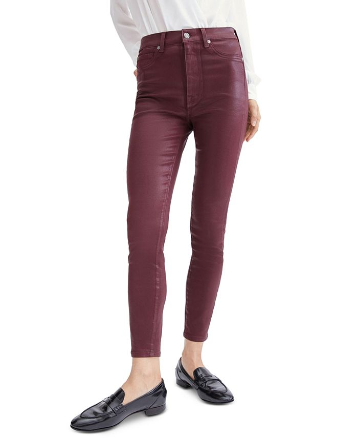 7 For All Mankind - Coated High-Rise Ankle Skinny Jeans