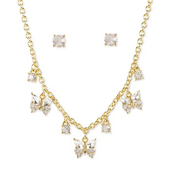 Charter Club Gold-Tone Crystal Statement Necklace & Stud Earrings Set