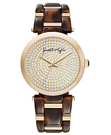 Women's Kendall + Kylie Acrylic Brown Link with Gold Tone Accents Stainless Steel Strap Analog Watch 40mm
