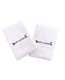 Linum Home Textiles Embroidered Hand Towels with Happy Holiday with Ornament Set of 2
