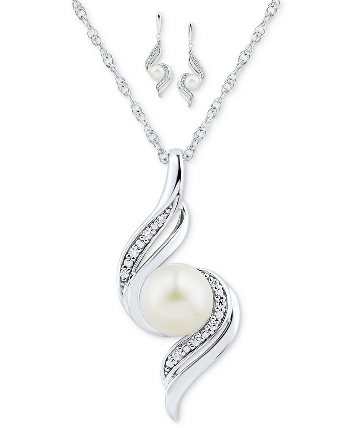 Macy's - 2-Pc. Set Cultured Freshwater Pearl (6mm & 7mm) & Diamond (1/10 ct. t.w.) Pendant Necklace & Matching Drop Earrings in Sterling Silver