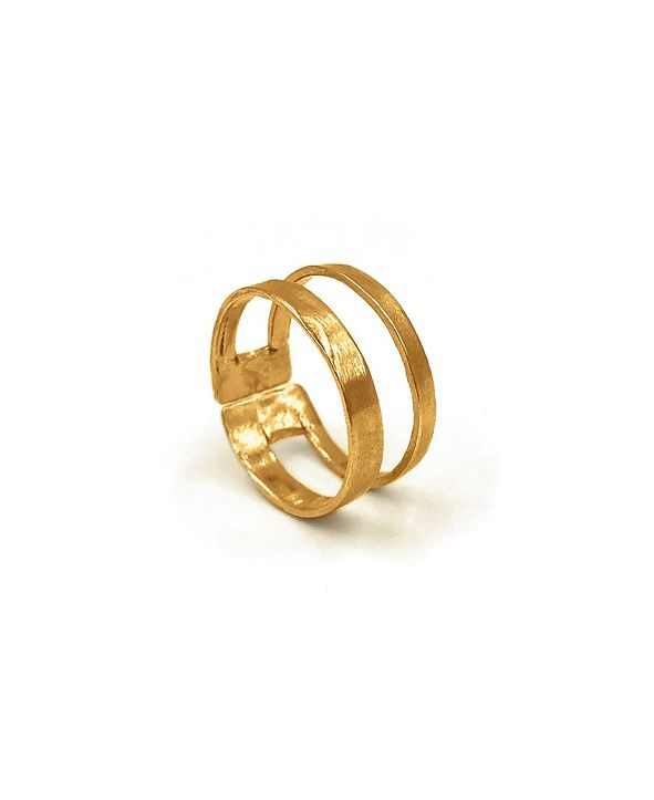 Kemi Designs Women's 14K Gold Plated Double Band Adjustable Ring