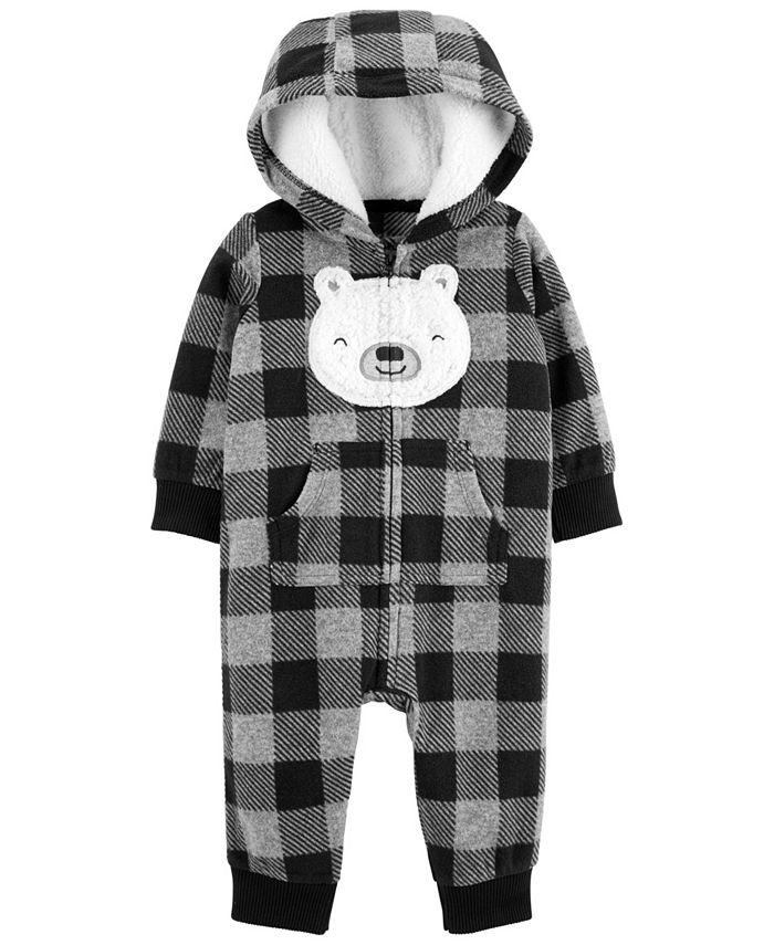 Carter's - Carters Baby Boy Buffalo Check Fleece Jumpsuit
