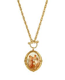 2028 Women's Gold Tone Girls Oval Stone Locket Necklace