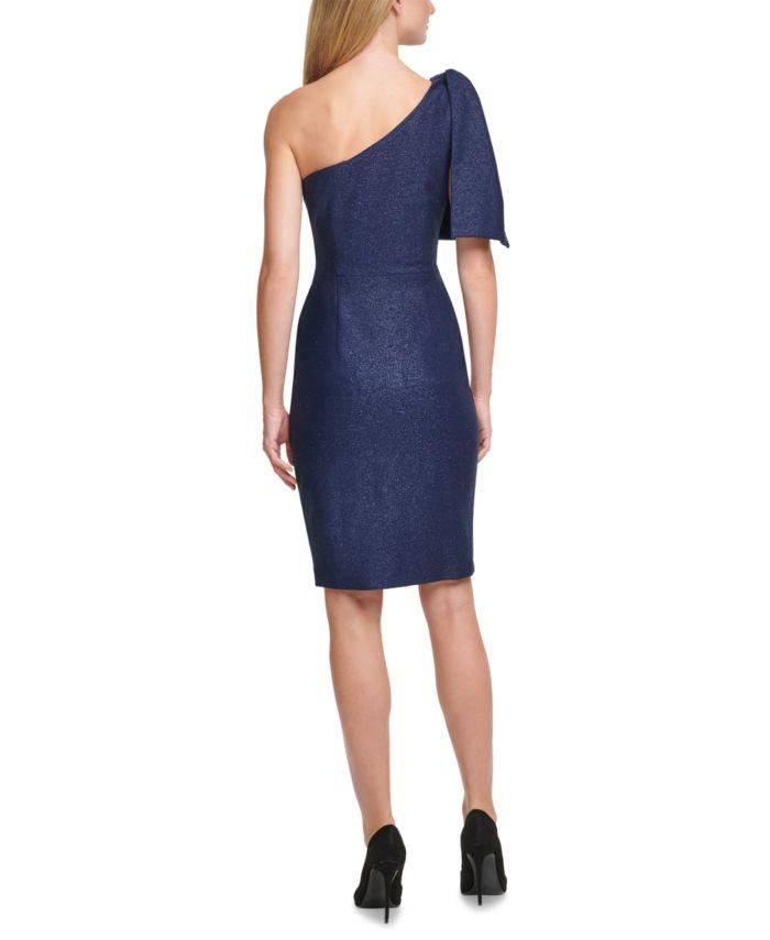 Eliza J One-Shoulder Glitter-Knit Dress & Reviews - Dresses - Women - Macy's