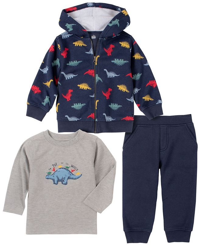 Kids Headquarters Baby Boys Dino Print Fleece Pant Set