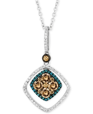 Le Vian Chocolate and White Diamond (5/8 ct. t.w.) and Blue Diamond Accent Pendant Necklace in 14k White Gold