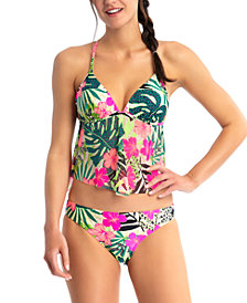 California Waves Juniors' Tropical-Print Tankini & Hipster Bottoms, Created for Macy's