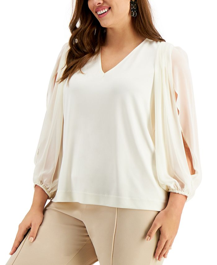 Alfani - Plus Size Split-Sleeve Top