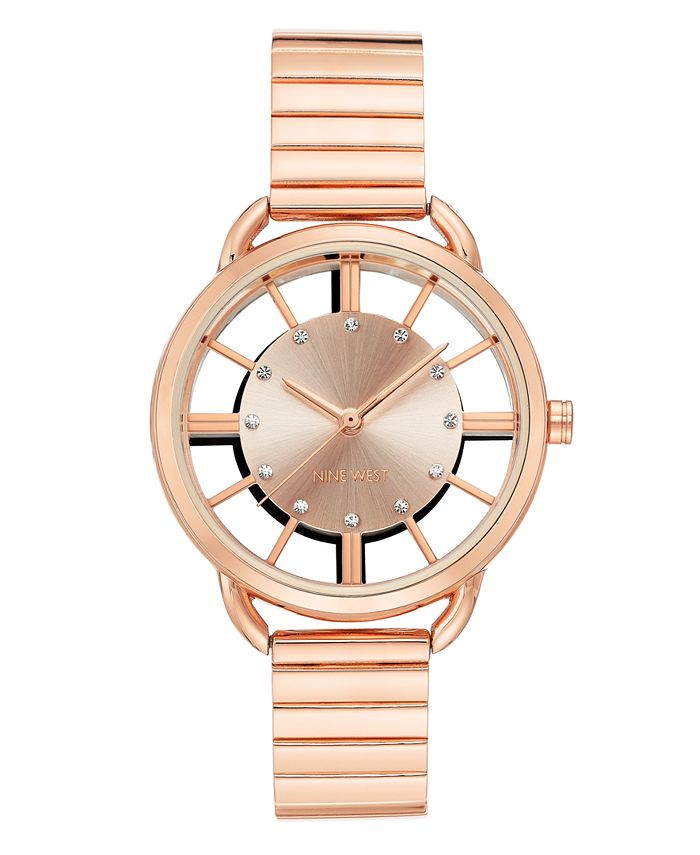 Nine West - Crystal Accented Rose Gold-Tone Bracelet Watch, 35mm