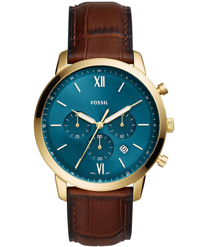 Fossil - Men's Neutra Brown Leather Strap Watch 44mm