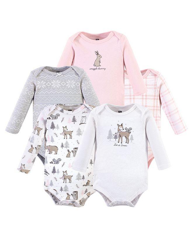 Hudson Baby Baby Boys Girls 5 Piece Cotton Long-Sleeve Bodysuits