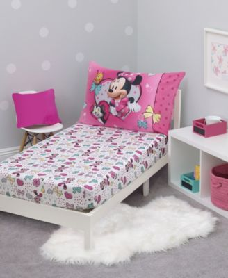Toddler Girl's Minnie Mouse Happy Hearts Toddler Bed Set, 4 Piece