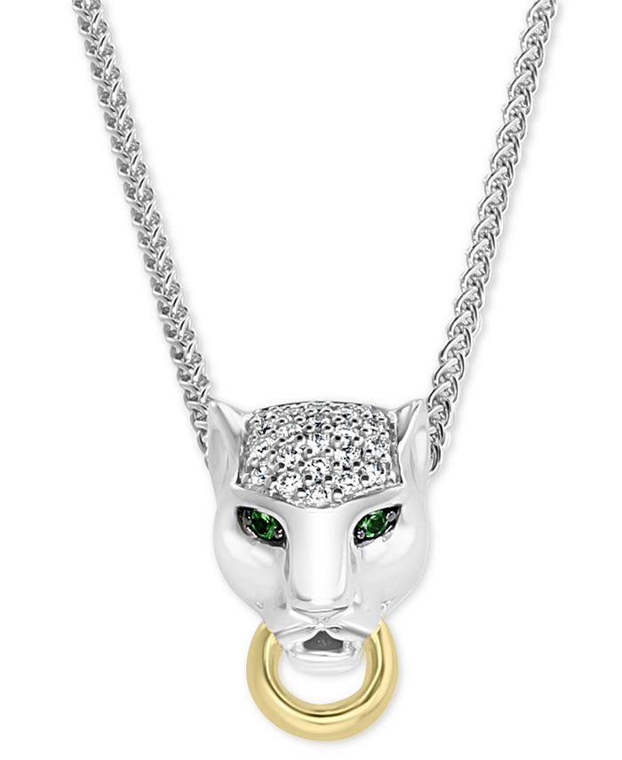 """EFFY Collection - Diamond (1/8 ct. t.w.) & Tsavorite Accent Panther 18"""" Pendant Necklace in Sterling Silver & 18k Gold-Plate"""