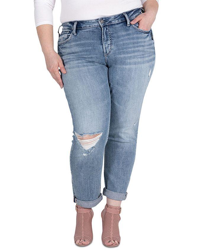 Silver Jeans Co. - Plus Size Mid-Rise Boyfriend Jeans