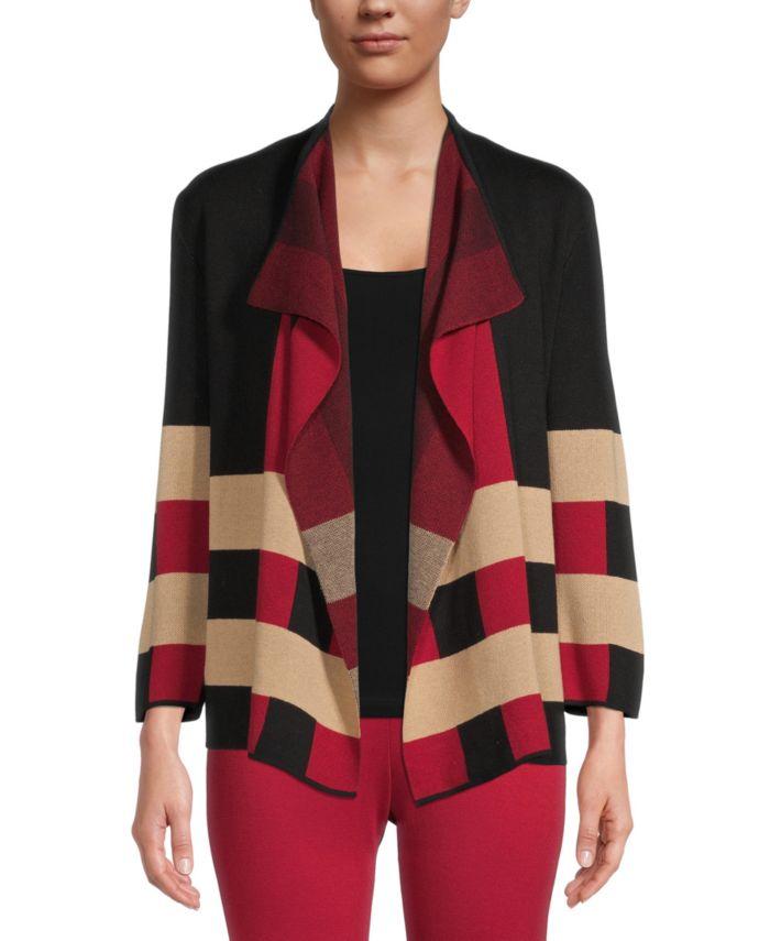 Kasper Colorblocked Open-Front Cardigan & Reviews - Sweaters - Women - Macy's