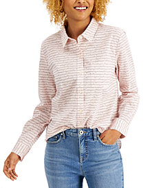 Style & Co Petite Stripes & Hearts Printed Button-Front Shirt, Created for Macy's