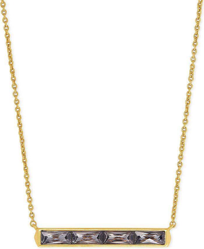 """Kendra Scott - Vintage Gold-Tone Baguette-Cut Crystal Pendant Necklace, 16"""" + 2"""" extender"""