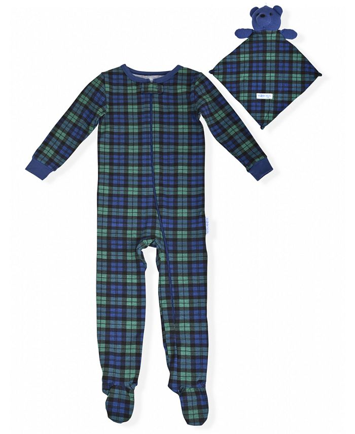 Max & Olivia - Baby Boys Tertan Plaid Coverall with Blankie Baby
