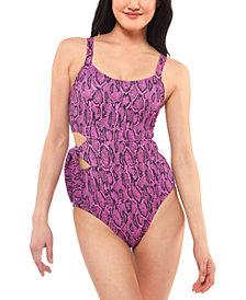 Jessica Simpson Snakeskin-Print Side-Tie Swimsuit