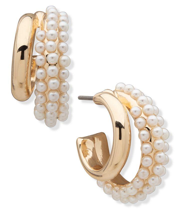 Anne Klein - Pearl Hoop Earrings