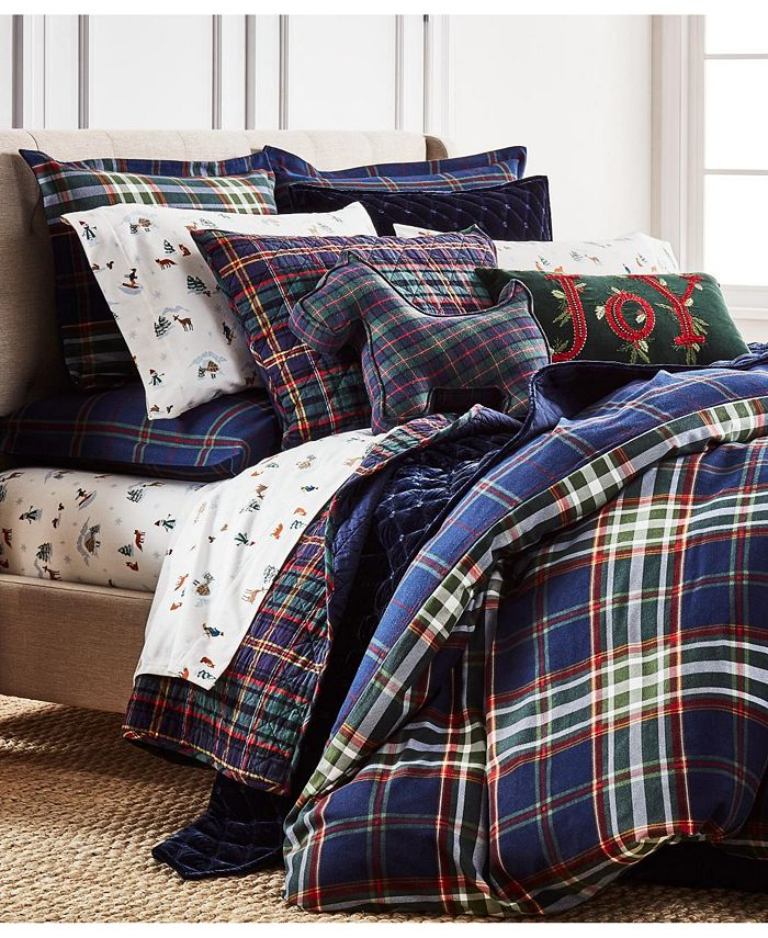 Martha Stewart Collection - Midcentury Plaid Duvet, Created for Macys