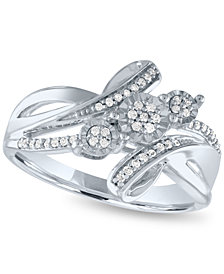 Diamond Statement Ring (1/5 ct. t.w.) in Sterling Silver