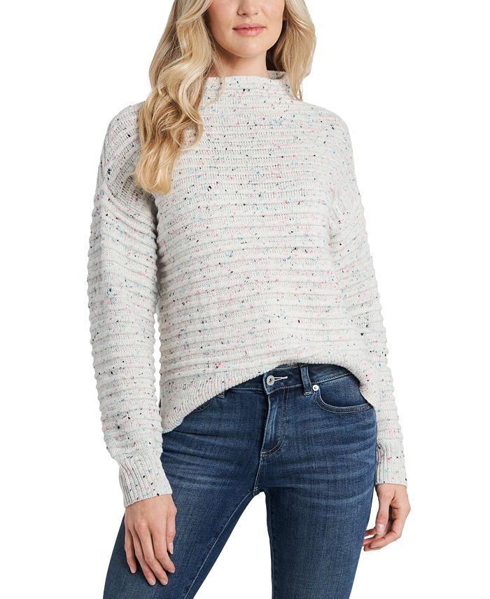 CeCe - Mock-Neck Speckled Sweater