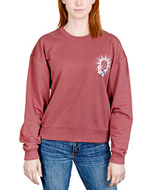 Rebellious One Juniors' Celestial Floral Graphic Sweatshirt