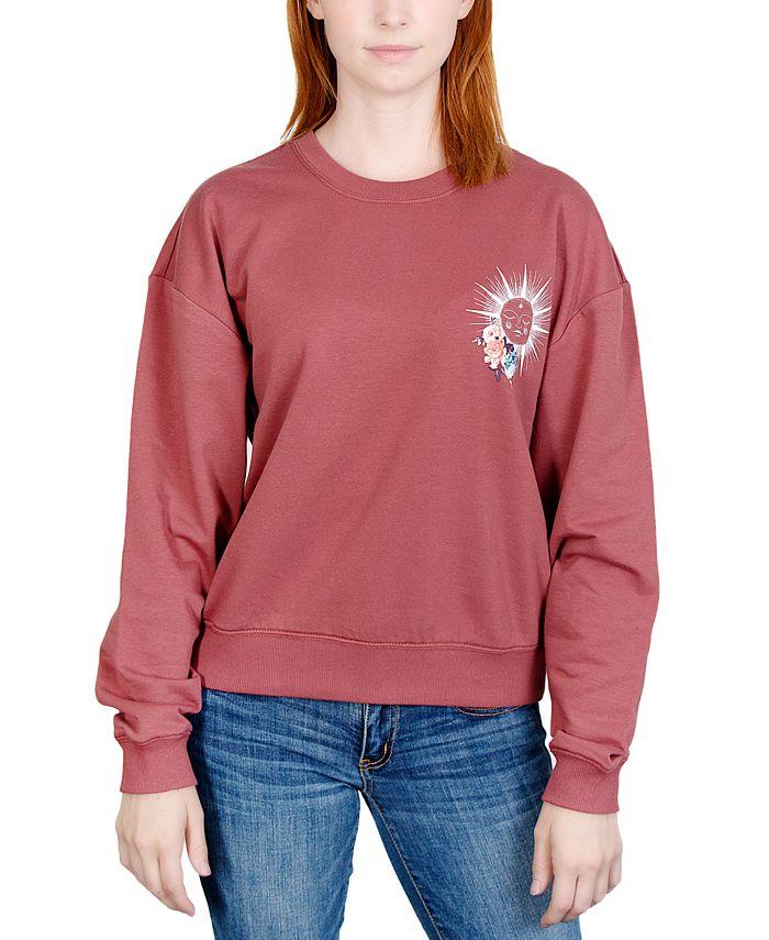 Rebellious One - Juniors' Celestial Floral Graphic Sweatshirt