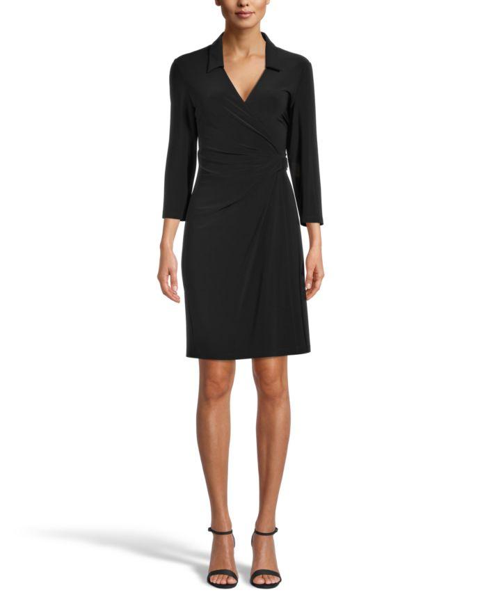 Anne Klein Collared Signature Wrap Dress & Reviews - Dresses - Women - Macy's
