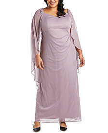R & M Richards Plus Size Empire-Waist Cape Gown