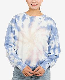 Hippie Rose Juniors' Tie-Dye Banded-Hem Sweatshirt