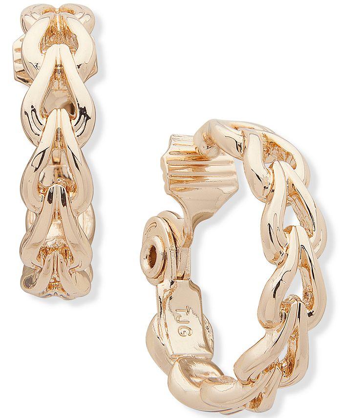 """Anne Klein - Gold-Tone Link Medium Hoop Clip-On Earrings, 1"""""""