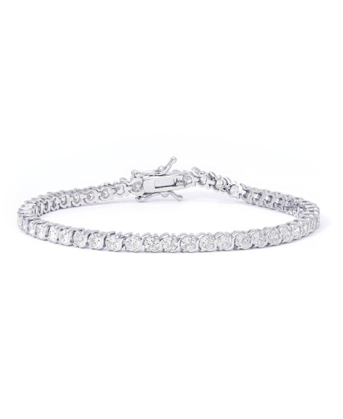 "Macy's Cubic Zirconia ""S"" Link Bracelet in Fine Silver Plate & Reviews - Bracelets - Jewelry & Watches - Macy's"