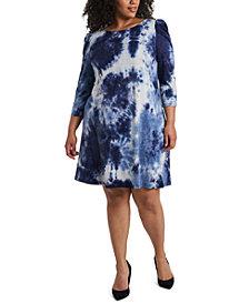 MSK Plus Size Tie-Dyed Shift Dress
