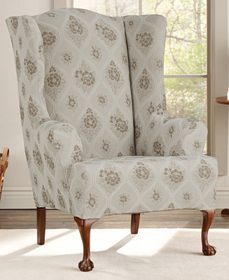 floral slipcovers for wingback chairs | Sure Fit Stretch Vintage Floral 2-Piece Wing Chair ...