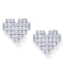 Cubic Zirconia Heart Stud Earrings in Fine Silver Plate