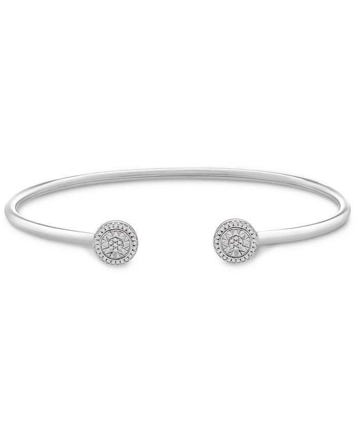 Wrapped - Diamond Circle Flex Cuff Bangle Bracelet (1/8 ct. t.w.) in Sterling Silver