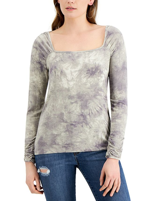 Fever - Tie-Dyed Square-Neck Ribbed Knit Top