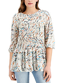 Fever Printed Ruffled Ruched Top
