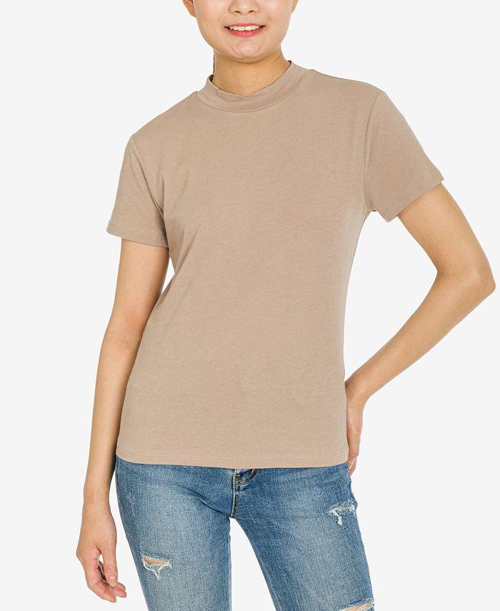 Hippie Rose - Juniors' Mock-Neck T-Shirt