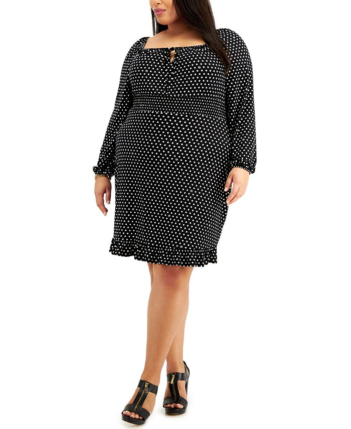 Michael Kors - Plus Size Polka-Dot Square-Neck Mini Dress