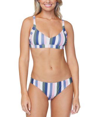 Juniors' Chasing The Sun Striped Lowrider Bikini Bottoms