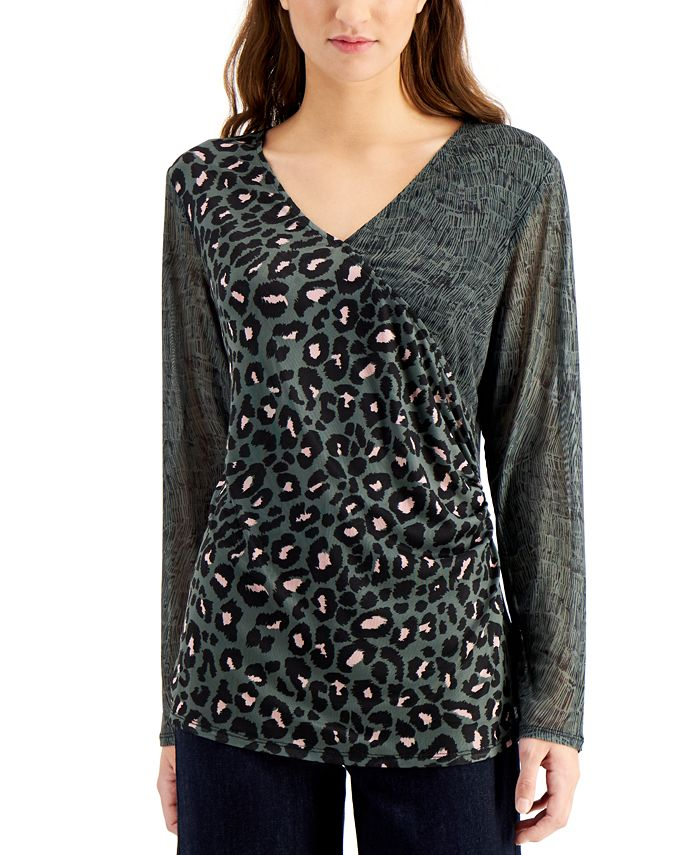 Willow Drive - Mesh-Sleeve Wrap Top