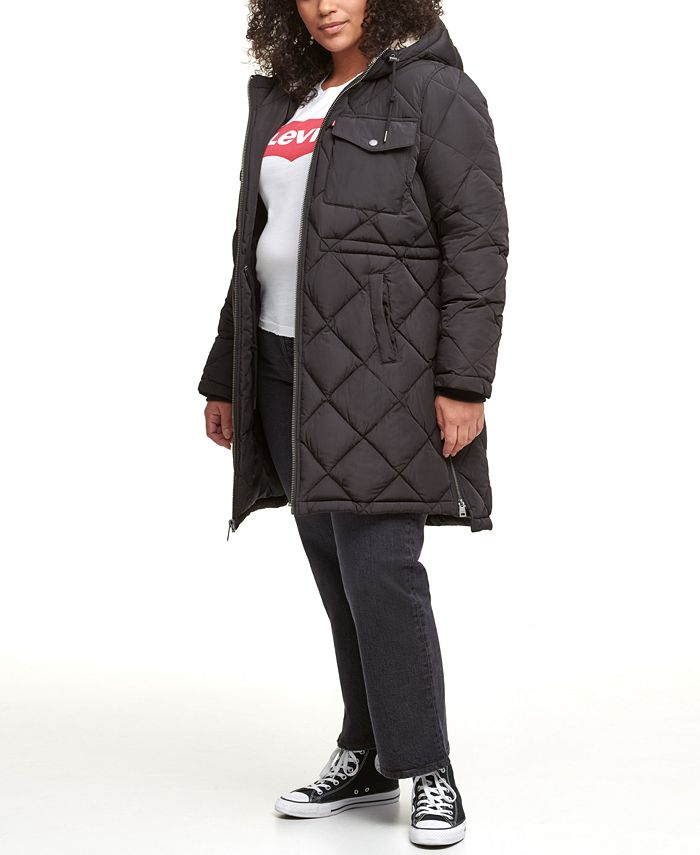 Levi's - Trendy Plus Size Diamond-Quilted Hooded Long Parka Jacket
