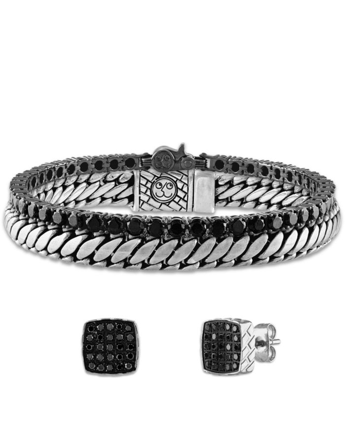 Esquire Men's Jewelry Black Spinel Tennis Bracelet (16-1/2 ct. t.w.) in Black Rhodium-Plated Sterling Silver, Created for Macy's & Reviews - Bracelets - Jewelry & Watches - Macy's